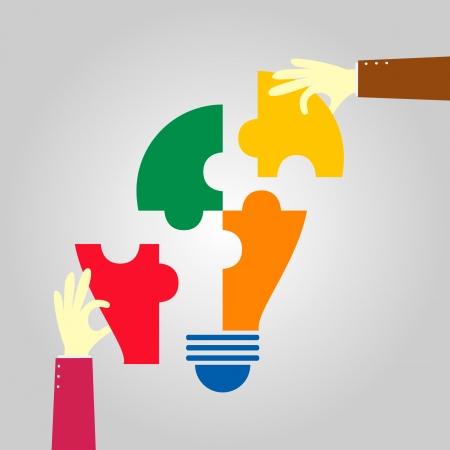 hand pick up a jigsaw bulb Illustration