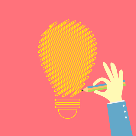 hand drawing an idea bulb Vector