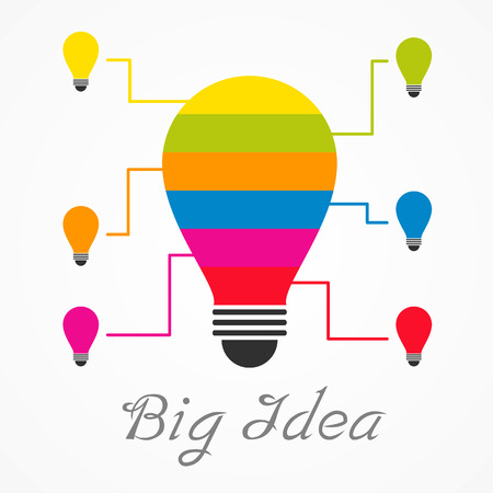 big idea bulb mix from small idea bulb Vector