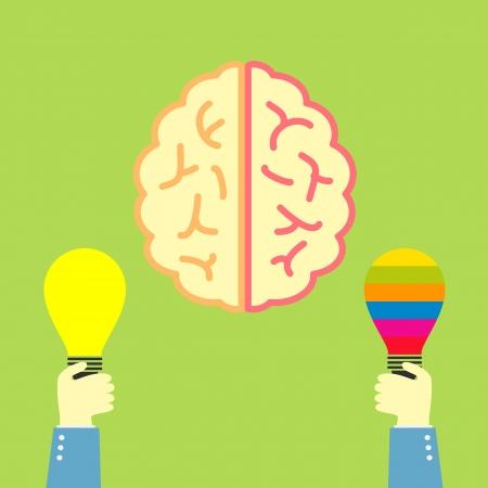 hand holding money bag: idea bulb and brain