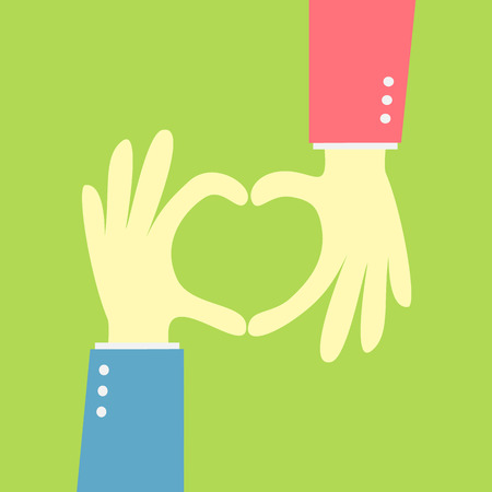 two hand showing heart shape  Vector