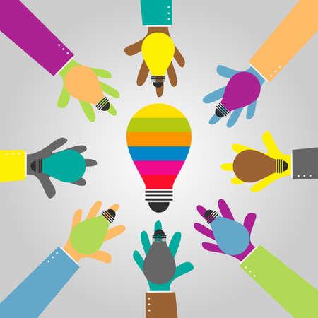 idee gl�hbirne: Hand, die eine Idee Gl�hbirne f�r gro�e Idee Gl�hbirne Illustration