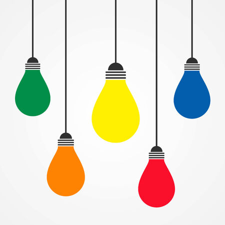 colorful of lighting idea bulb Vector