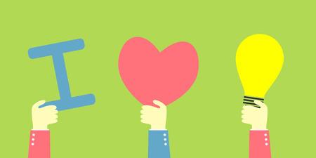 hand show i love bulb idea Vectores