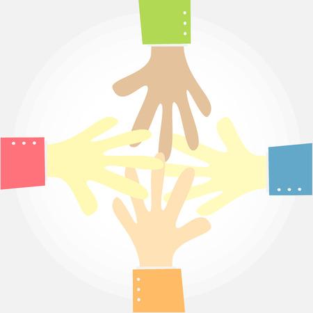 four hand show teamwork Vector