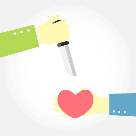 stabbed: cuchillo quiere matar a un coraz�n Vectores