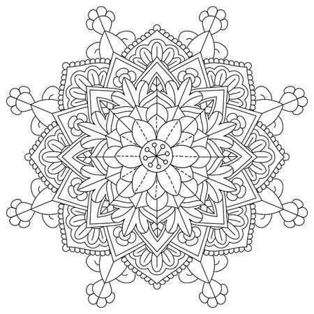 mandala fiore per pagine da colorare Vettoriali