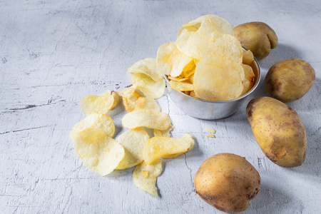 Fried potato chips In a bowl Stock Photo