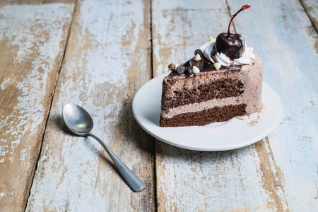 Chocolate Cake on wooden back ground