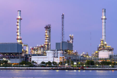 River and oil refinery factory photo