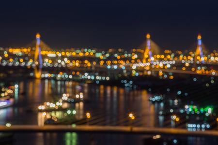 ix: Rama IX Bridge over river, night scene
