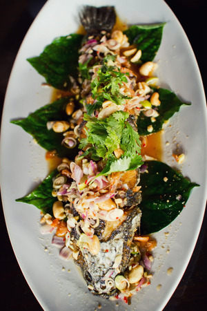 striped snakehead fish: Deep Fried Snakehead Fish with Herb