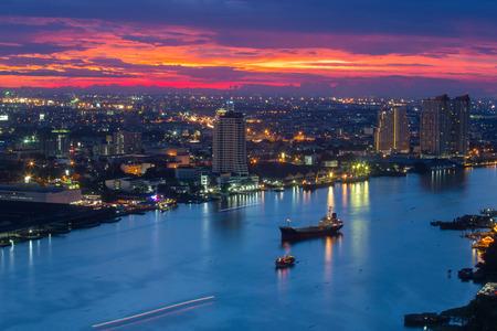 river scape: Bangkok city scape and river