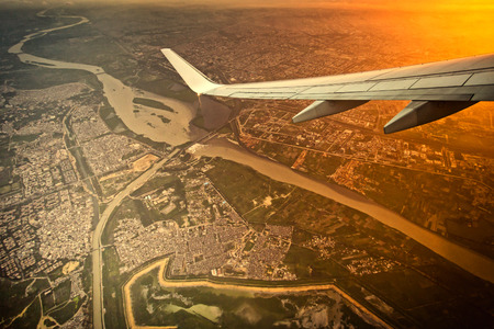 high angle view of New Delhi city of India on the air plane photo