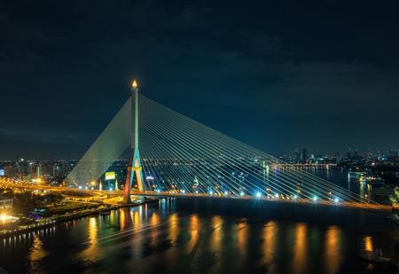 bangkok: Rama 8 Bridge at night in Bangkok and Chopraya river, Thailand