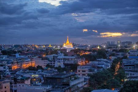 afterglow: Wat Saket Ratcha Wora Maha Wihan is a buddhist temple on the mountain in bangkok , thailand Stock Photo
