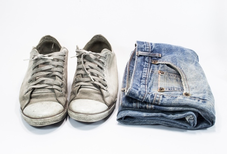 different blue jeans isolated on white background  photo
