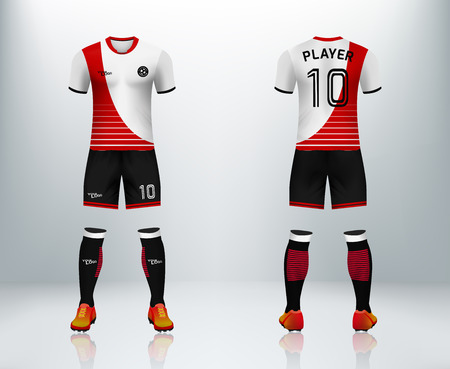 3D moc up of front and back of soccer jersey kit, concept for football uniform display in shop