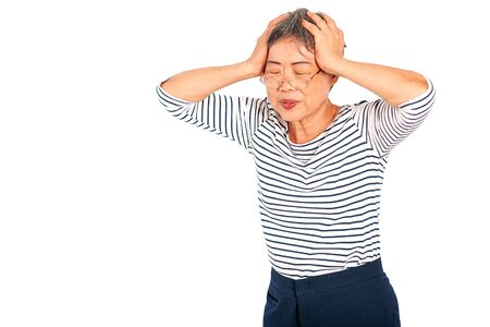 One Asian elderly woman express action of headache or head pain and isolate on white background with copy space.