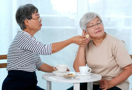 One Asian elderly woman try to reconcile to the other one with cookie during the tea time near balcony in the house. Standard-Bild