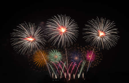 Fireworks with different color and pattern for celebration in various event including new year, party, ceremony, birthday or other show and display on night dark sky background.