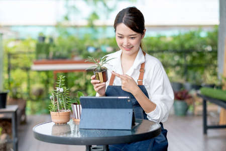Beautiful Asian girl hold plant product and present to tablet look like online business and look happy. Sustainable with small business work involve with plant of flora concept.