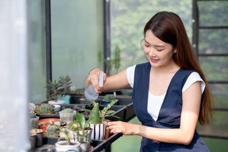 Beautiful Asian girl hold foggy bottle to spray water for plant in small pot and sit in green garden in her house. Sustainable with grow cactus and other plant concept.