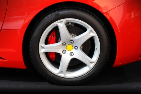 Wheel on a red sport car