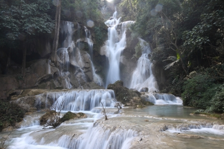 Kuang Si Waterfall, Beautiful waterfall near Luang prabang, Laos photo
