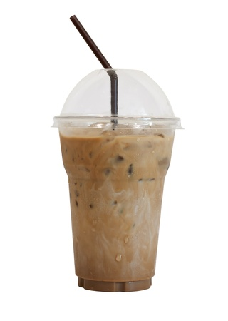 disposable: Iced coffee with straw in plastic cup isolated on white background  Stock Photo