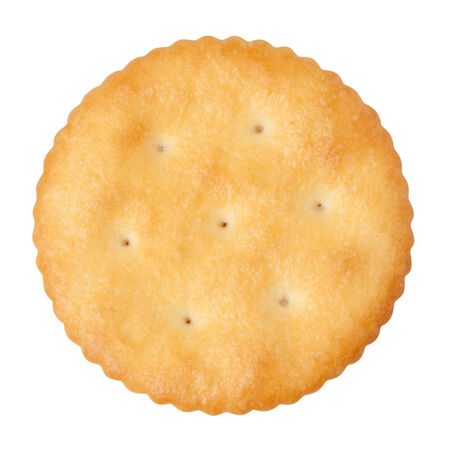 Round Cracker isolated on white with a clipping path