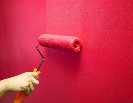 Hand Painting Wall in Red photo