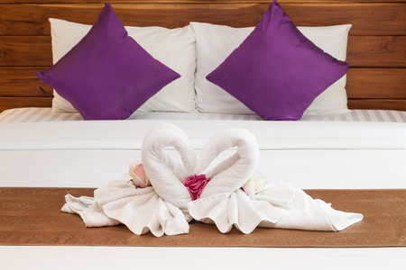 Romantic two towels on the bed photo
