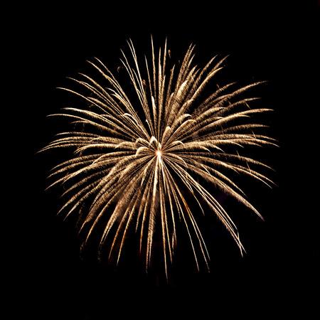 white work: Beatutiful Fireworks on Black Background Stock Photo
