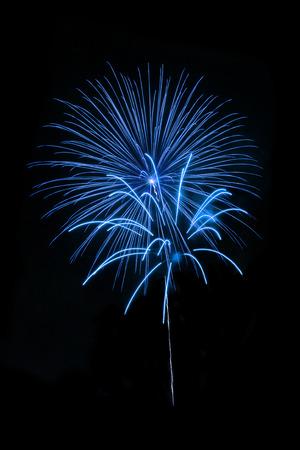 night background: Beatutiful Fireworks on Black Background Stock Photo