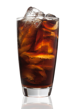 Glass of Cola with Ice Cube Isolated on White Background photo