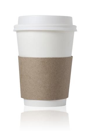 taza: Para llevar la taza de caf� aislados en blanco