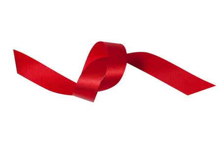 Shiny red ribbon on white background 免版税图像