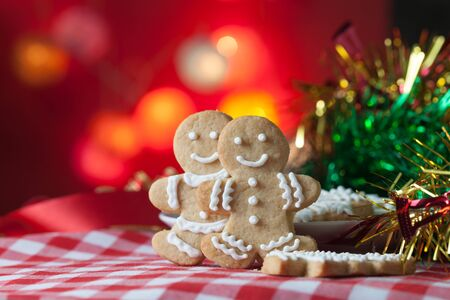 gingerbread cookies: Christmas Gingerbread cookies on table with bokeh background