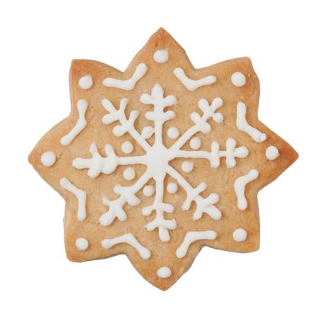 galleta de jengibre: Galletas de pan de jengibre en la dimensión de una variable del copo de nieve aislado en blanco, camino de recortes