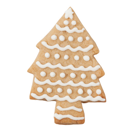 christmas cookie: Gingerbread tree isolated on white, clipping path