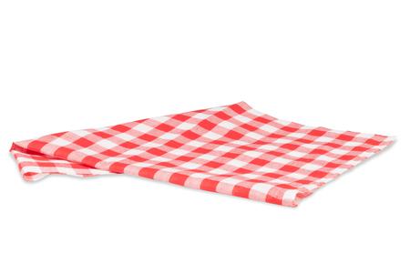 クリッピング パスと白で隔離赤いテーブル クロス