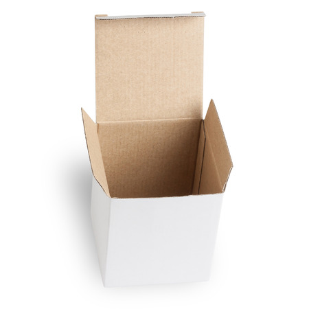 package sending: Open Box Isolated on white background Stock Photo