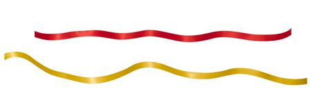 Ribbon Red,Gold isolated on white Foto de archivo - 129560088