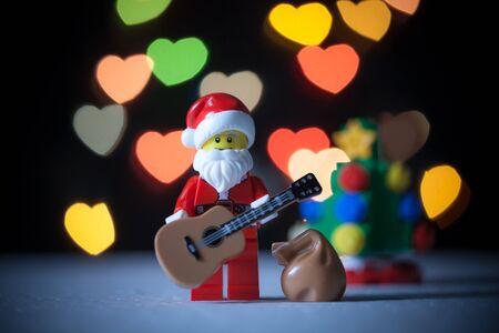 Bangkok,Thailand. December 19,2016 - Santa Claus Lego holding guitar. Studio Shot
