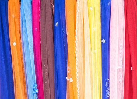 Colorful fabrics of cotton, India, Thailand, Burma and Mon residents.