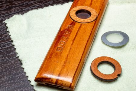 kazoo folk instrument woodwork macro picture