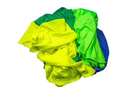 A pile of colorful clothes, white background Banco de Imagens