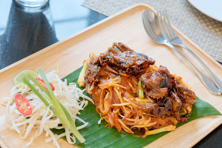 a Thai dish based on rice noodles