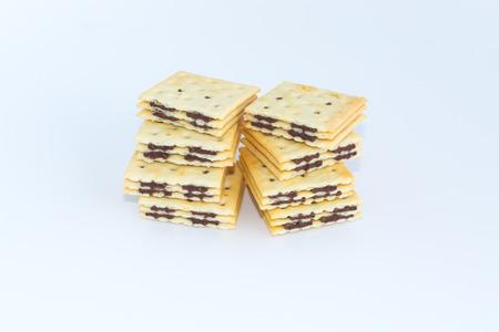 bisquit: sandwich cracker chocolate flavored cream